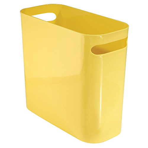 iDesign Una Rectangular Trash Can with Handles, Waste Basket Garbage Can for Bathroom, Bedroom, Home Office, Dorm, College, 10-Inch, Yellow (Yellow Trash Can For Bedroom)