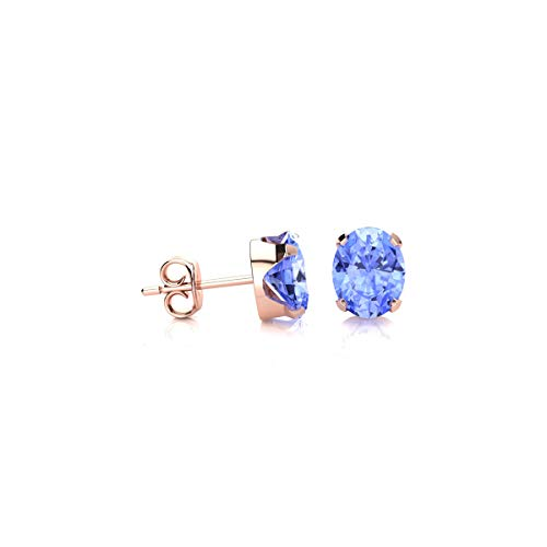 3/4 Carat Oval Shape Tanzanite Stud Earrings In Rose Gold Over Sterling Silver