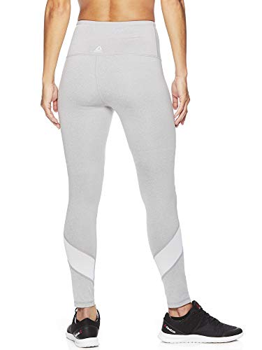 Reebok Women's High Rise Workout Leggings - High Waisted Yoga & Fitness Athletic Compression Pants - Grey Hero Heather, X-Small