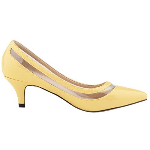 Heels Ritaglio Classico Scarpe Donna Scarpa Scarpe col Davanti col Giallo Donna WanYang Semplice Tacco High zPFxn885