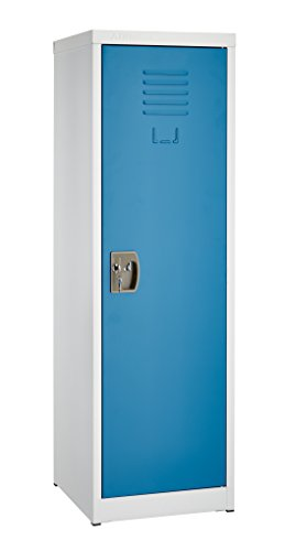 White Locker Room - AdirOffice Kids Steel Metal Storage Locker - for Home & School - with Key & Hanging Rods (48 Inch, Blue)