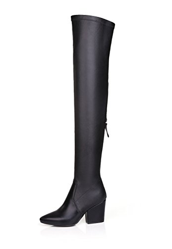 QianZuLian Womens Black Soft Leather Drawstring Thigh High Over The Knee Boots