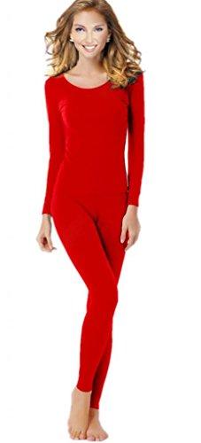 Women's Thermal Underwear Set Top & Bottom Fleece Lined, W1 Red, X-Large