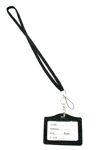 Rhinestone Lanyard Horizontal Lined ID badge holder and key chain by Sizzle City (Jet Black)