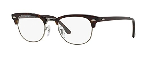 Ray-Ban RX5154 Clubmaster Eyeglasses 100% Authentic (49 mm, Havana with Silver - Round Ban Ray Clubmaster