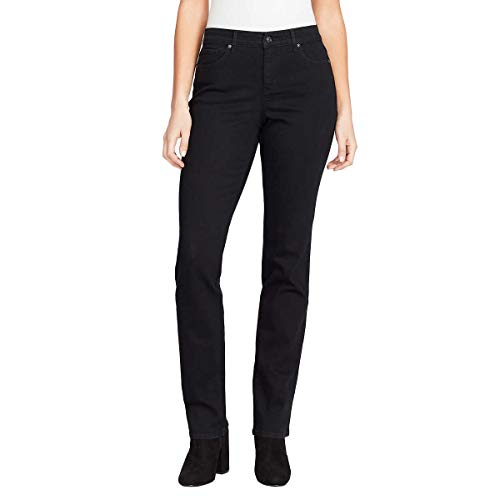 Gloria Vanderbilt Ladies' Willow Stretch Rail Straight Jean (12A, Black Rinse Wash)