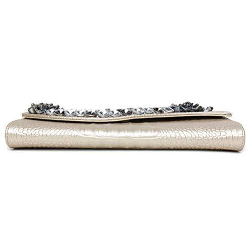 Soirée avec De Femme Bandoulière Sac Sac pour Bag Grande Capacité en Enveloppe Gold Courroie Cuir Véritable Mode Gshe EZqtwHxR