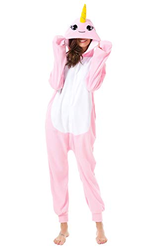 Foresightrade Adults and Children Animal Narwhal Unicorn Cosplay Costume Pajamas Onesies Sleepwear (M fit for Height 158-168CM, Narwhal Pink -