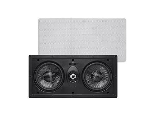 Monoprice 2-Way Carbon Fiber In-Wall Center Channel Speaker - Dual 5.25 Inch (Single) Easy Install For Home Theater - Alpha Series
