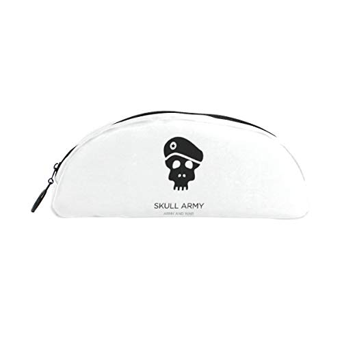 FengJu Semicircle Pencil Case Large Capacity Cosmetic Makeup Storage Bag Stationery Office Desk Organizer Bag for Women Girls Student Officer Skull Army Halloween]()