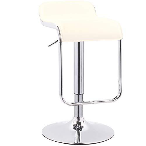 (LIQICAI Bar Stool Faux Leather Adjustable Swivel Gas Lift Extra Backrest Footrest Large Base, 5 Colors Optional, 38cm Diameter Base, 61-81cm Height (Color : Cream, Size : 1 PCS) )