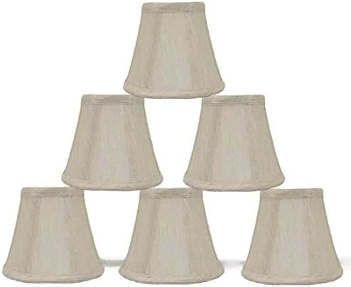 Urbanest Set of 6, Cream Chandelier Mini Lamp Shades 5-inch, Bell, Clip On