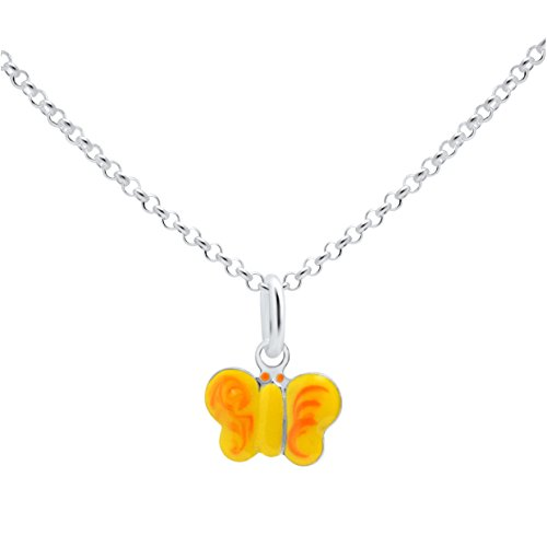UNICORNJ Sterling Silver 925 Childrens Pendant Necklace with Enamel Yellow and Orange Butterfly Charm Italy