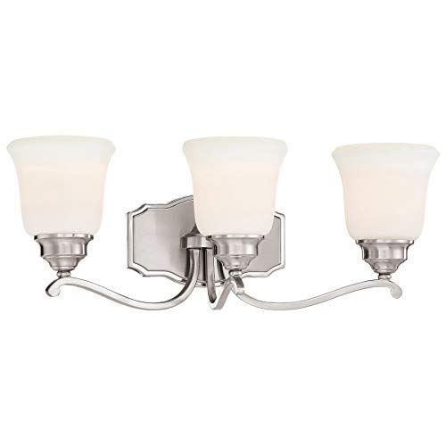 Savannah Four Light Bath - Minka Lavery Wall Light Fixtures 3323-84 Savannah Row Wall Bath Vanity Lighting, 3-Light 300 Watts, Brushed Nickel