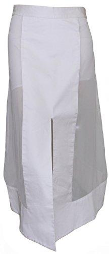 Attuendo algodón y tech-mesh panelado Midi falda de la mujer