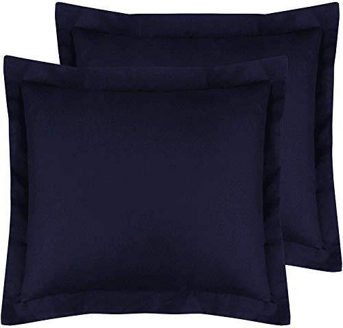 Super Soft 500 TC Pillowcase Navy Blue Solid Pillow Sham Set Of 2 Euro/European 26