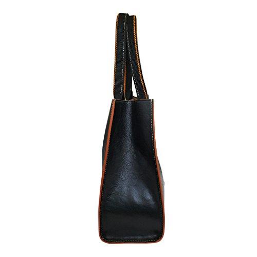Toscanella cuir italien moyen fourre-tout sac à main - Noir