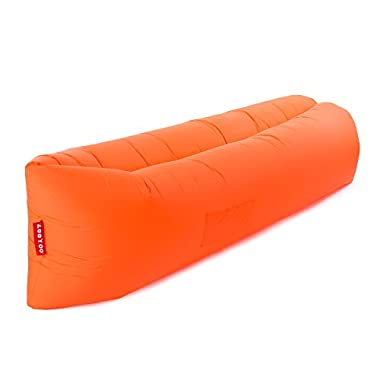 ZOOYOO-Outdoor Inflatable Lounger(Orange),Convenient Nylon Fabric Beach Couch with Compression Air Bag,Portable Dream Chair Garden Cushion for Beach Pool.