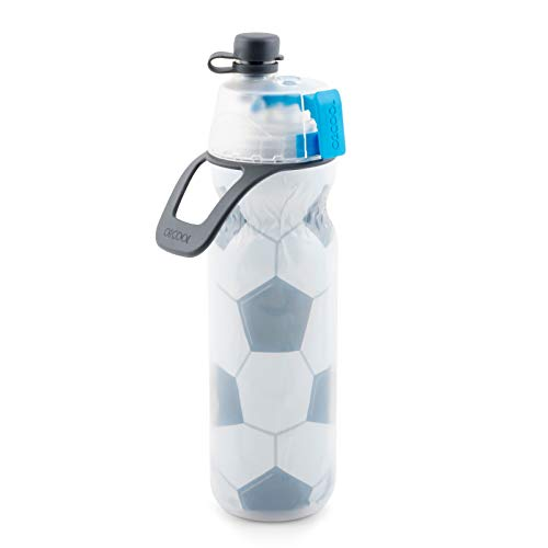 O2COOL HMLDP07 Insulated Water Bottle, Mist 'N Sip Sports Series, 20 Ounce, Soccer (Water Bottle Soccer)