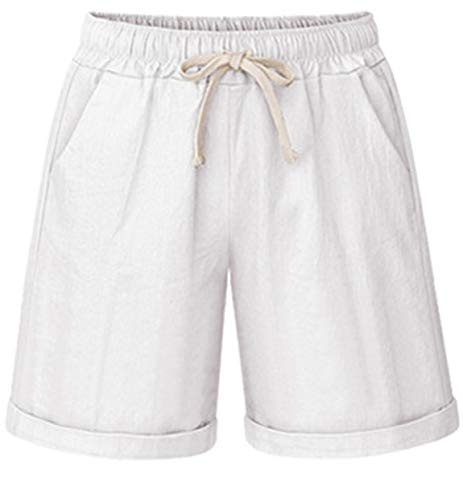 HOW'ON Women's Elastic Waist Casual Comfy Cotton Beach Shorts with Drawstring White XXL ()
