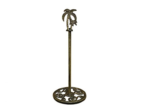 Handcrafted Nautical Decor Rustic Gold Cast Iron Palm Tree Extra Toilet Paper Stand 17\