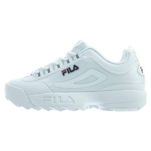 Fila Men's Disruptor II Sneakers, White/Navy/Red, 11 M US
