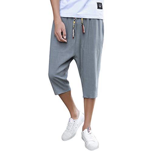 YAYUMI Prime Amazon Day, Men's Summer Pure Colour Cotton Hemp Pants Fashion Comfortable Trouser Gray