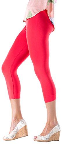 Lush Moda Seamless Capri Length Basic Cropped Leggings - Variety of Colors - Fire Red OS