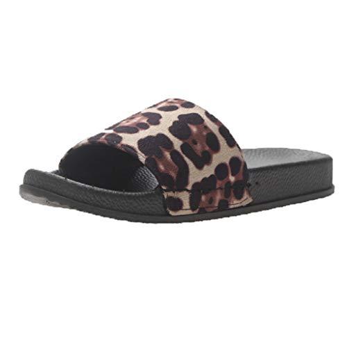 (Orangeskycn Women Slippers Sandals Summer Leopard Print Flip Flops Casual Shoes Slides Bathroom Casual Beach Sandals Beige)