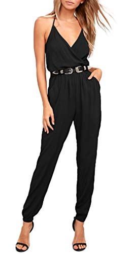 ZJCT Womens V Neck Jumpsuits Summer Casual Spaghetti Strap Sleeveless Elastic Waist Playsuit Rompers with Pockets Black S