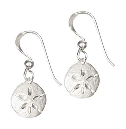 Sterling Silver Satin and Diamond-cut Sand Dollar Dangle Earrings on French Wires