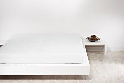 Spannbettlaken Mistral Home Perkal Uni 3 Größen 6 Farben Ägyptische Baumwolle, Farbe:Weiß;Größe:140x200cm
