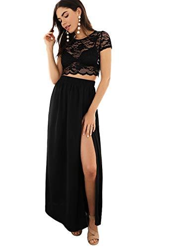 MAKEMECHIC Women's Mesh Lace Crop Top Maxi Skirt Set 2 Piece Outfit Dress Black L (Lace Crop Top And Maxi Skirt Set)