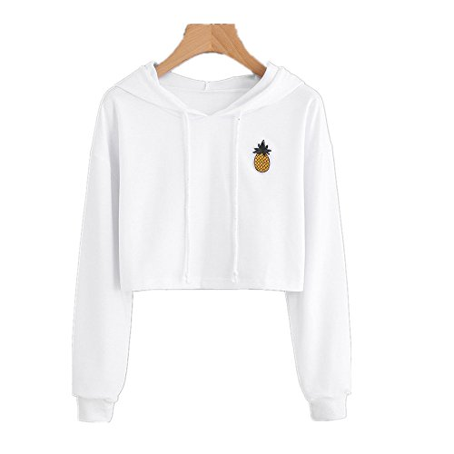 Sweatshirts,Ankola Women Fashion Pinapple Applique Crop Top Pullover Hoodie Blouse