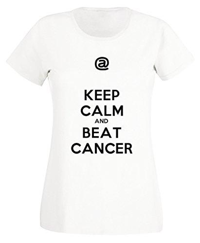 Keep Calm And Beat Cancer Blanc Coton Femme T-shirt Col Ras Du Cou Manches Courtes White Women's T-shirt