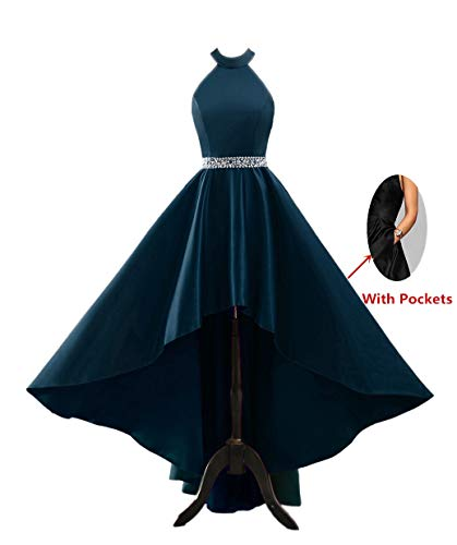 Dress Homecoming Teal (Chnaguan Womens Halter High Low Satin Prom Evening Dress Cocktail Party Gowns Teal-2)