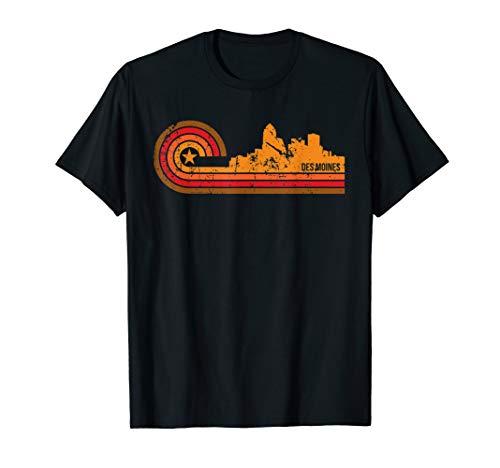 Retro Des Moines Cityscape - Des Moines IA Skyline T-Shirt (Des Moines Ia 50395 Usps Sort Facility)