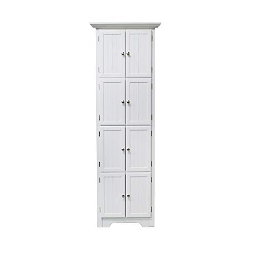 - NB Liner Wood Storage Cabinets Collection with 8 Door Shelf Corner Stand White