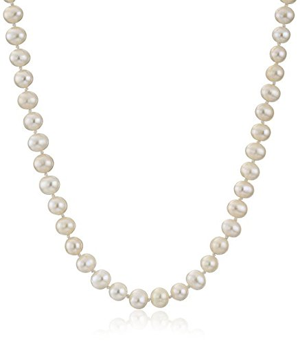 [Forever Love Authentic AA Natural White Cultured Freshwater Pearl Necklace 18