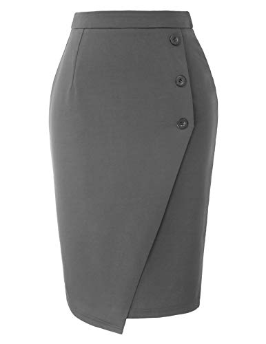 Women's Ease in to Comfort Stretch Knee Length Pencil Skirt Gray M