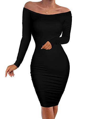 YMDUCH Women's Sexy Off Shoulder Dresses Bodycon Long Sleeve Stretchy Party Club Dresses