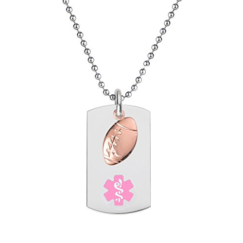 Divoti-Custom-Engraved-316L-Medical-Alert-Necklace-24-Ball-Chain-Dog-Tag-PVD-Rose-Gold-Football-Dangle-Charm