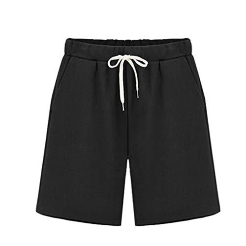 (Duseedik Women's Outdoor Shorts Loose Wide Leg Mid Pants Culottes Elastic Band Plus Size Hot Pants Black)