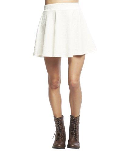 Wet Seal Women's Floral Textured Ponte Skater Skirt M White