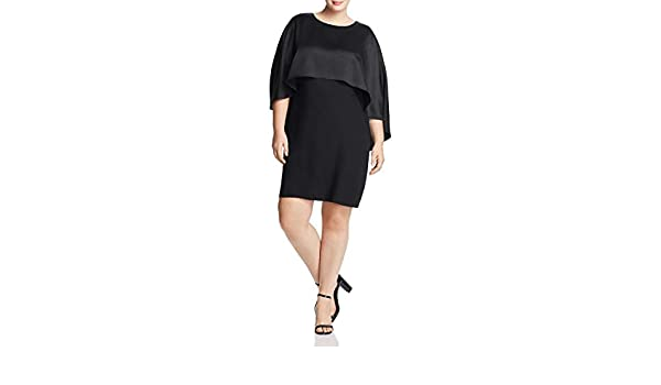 a3426047cc Vince Camuto Women's Plus Size Cape Overlay Matte Shine Crepe Dress at  Amazon Women's Clothing store: