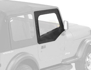 Bestop 51782-15 Black Denim Fabric Upper Half Door Set for 1988-1995 Wrangler - Front