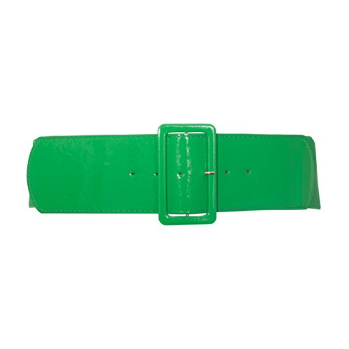 eVogues Women's Wide Patent Leather Fashion Belt Green - One Size Junior - Patent Leather Wide Cinch