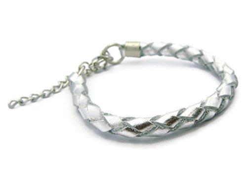 ZVACE Jewelry Quality Genuine Braied Leather Charm Wrap Wristband Cuff Bangle Bracelet (Silver), SA15