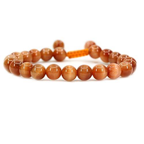 AMANDASTONES Natural Orange Tiger Eye Gemstone 8mm Round Beads Adjustable Braided Macrame Tassels Chakra Reiki Bracelets 7-9 inch Unisex