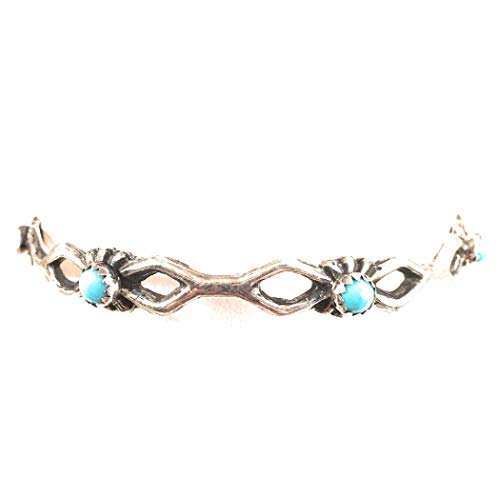 Nizhoni Traders LLC Navajo Turquoise Sterling Silver Bangle Bracelet ()